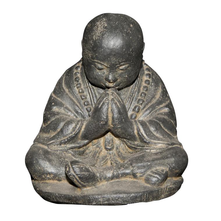 Statue de jardin Moine assis priant H 20 cm 263284
