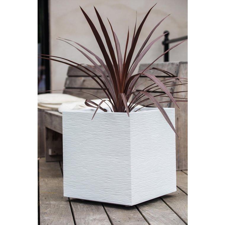 Pot carré GRAPHIT blanc L.40 x l.40 x H.40 cm 263673