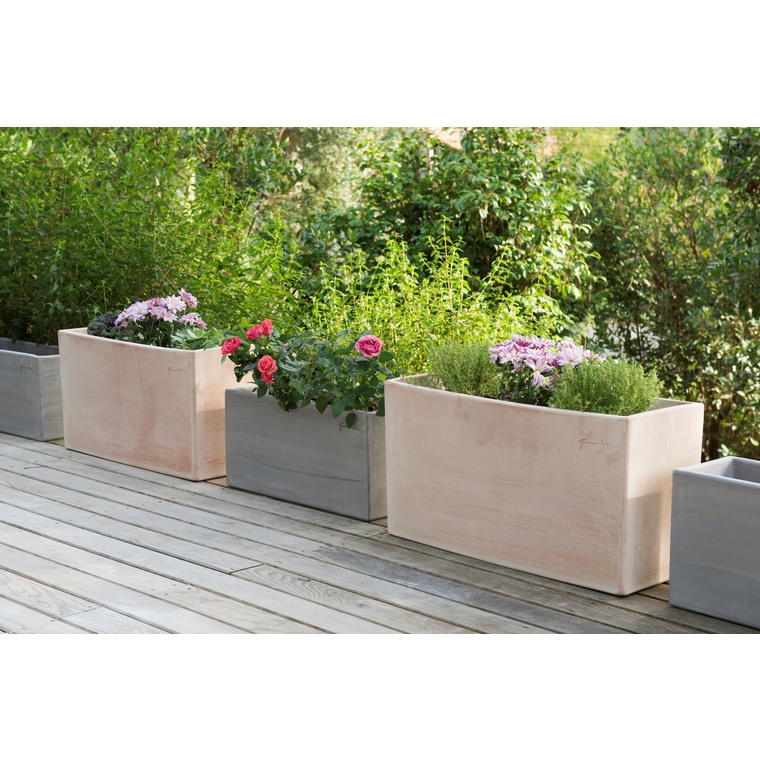 jardini re haute en terre claire 62x26x34 cm pots et contenants plantes poterie goicoechea nos. Black Bedroom Furniture Sets. Home Design Ideas