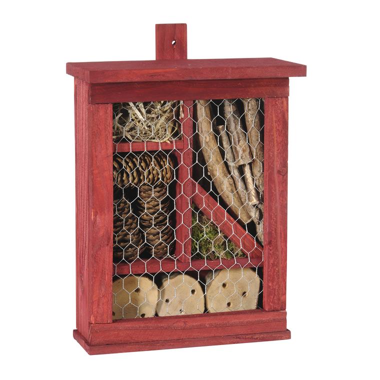 Hôtel à insectes carré en bois coloris rouge 264361