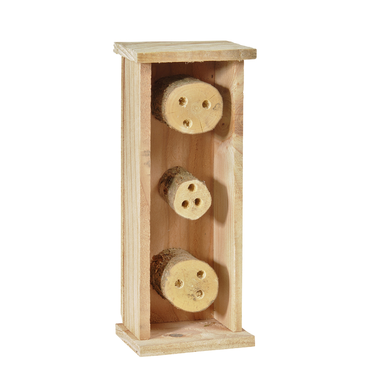 Abri pour abeilles solitaires en bois coloris naturel 264372