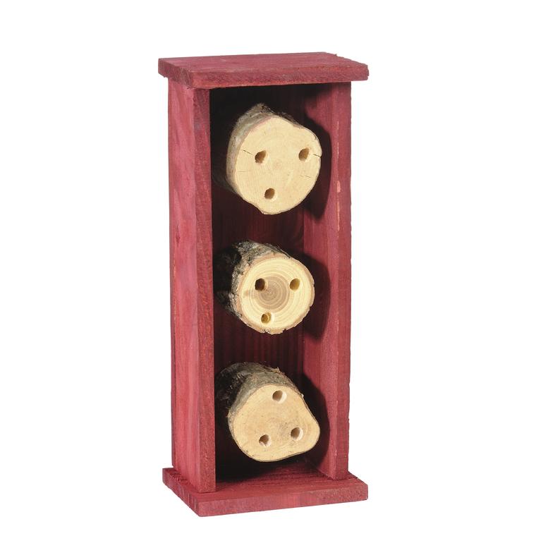 Abri pour abeilles solitaires en bois coloris rouge 264373