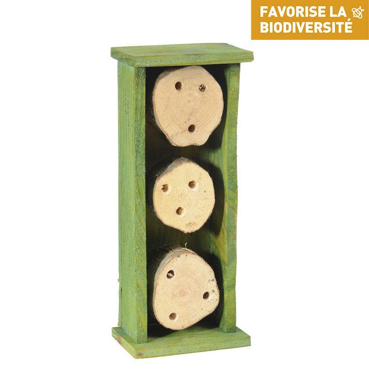 Abri pour abeilles solitaires en bois coloris vert 264374