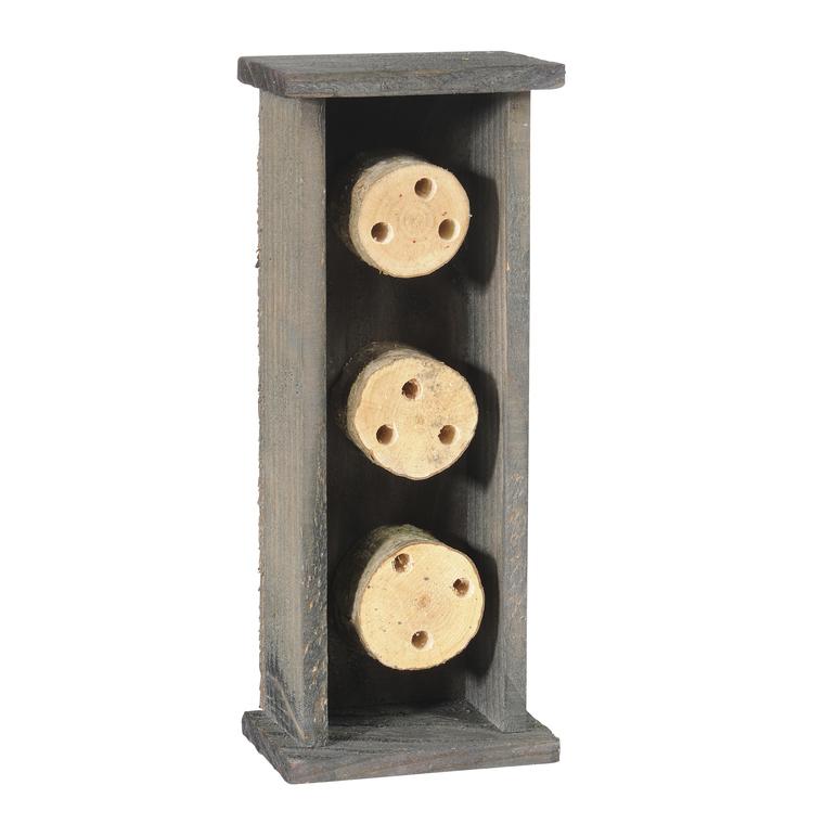 Abri pour abeilles solitaires en bois coloris gris 264375