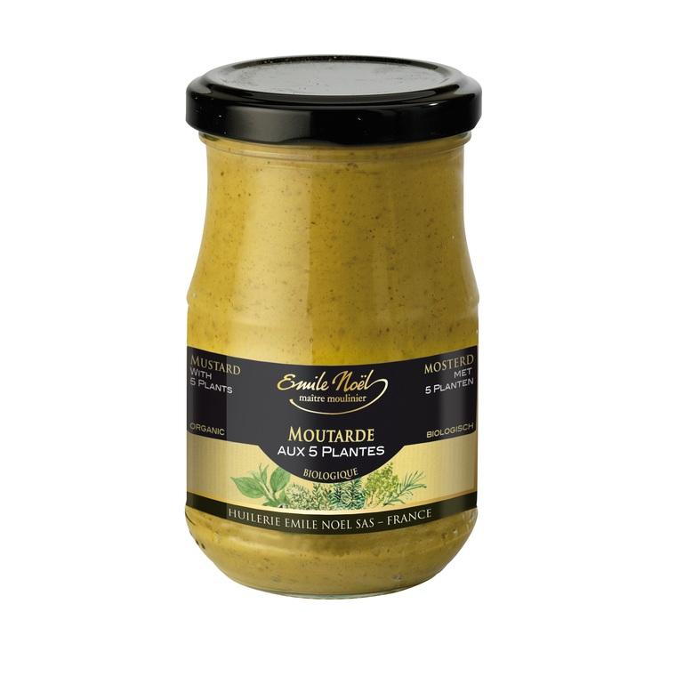 Moutarde aux 5 plantes bio en pot de 200 g 274938