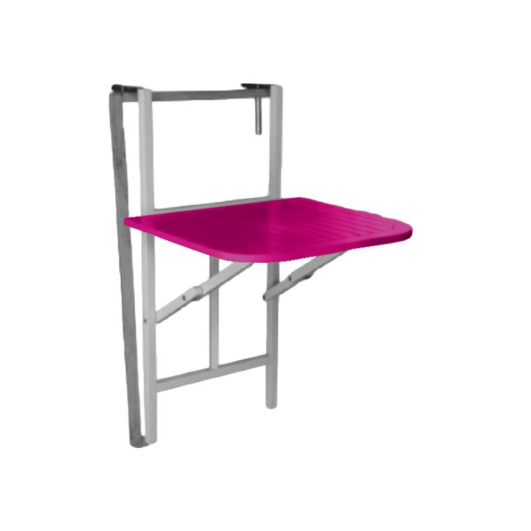 Table pliante balcon muscade/fuchsia - 2 personnes