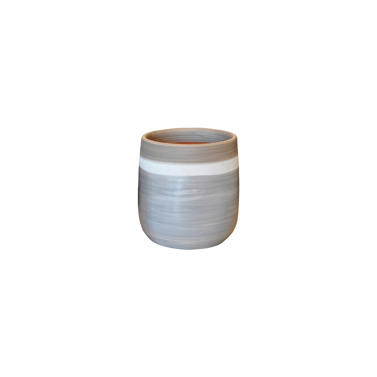 Pot Saintrop esprit délicatesse en terre cuite émaillée H 26 x Ø 23 cm