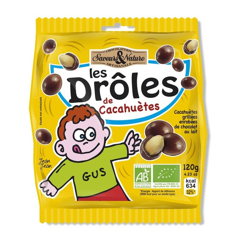 Drôles de cacahuètes enrobées de chocolat au lait grand sach 120 g 278441