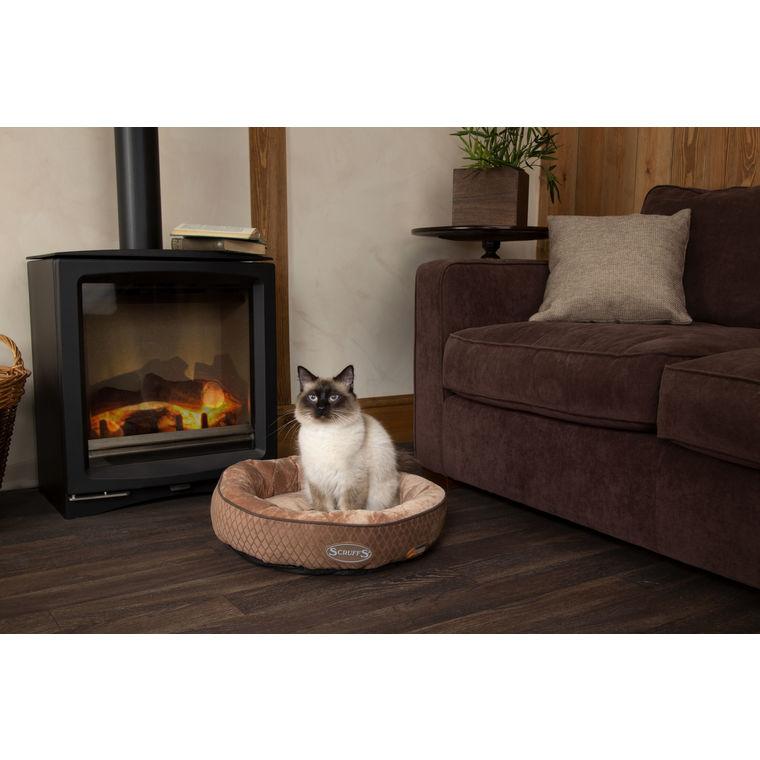 Lit à boite thermique marron choco en anneau pour chat Tramps Ø 50 cm 279127