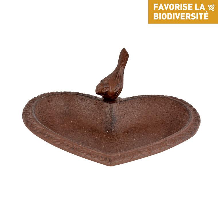 Bain d'oiseau forme cœur en fonte marron 17x14,9x7,8 cm 280496