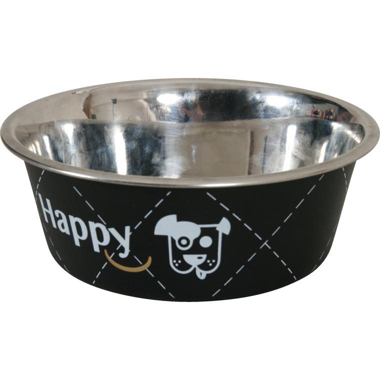 Écuelle en inox happy noire de diamètre 21 cm 280664