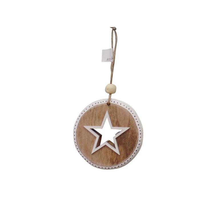 Disque décor étoile en bois à suspendre 284309