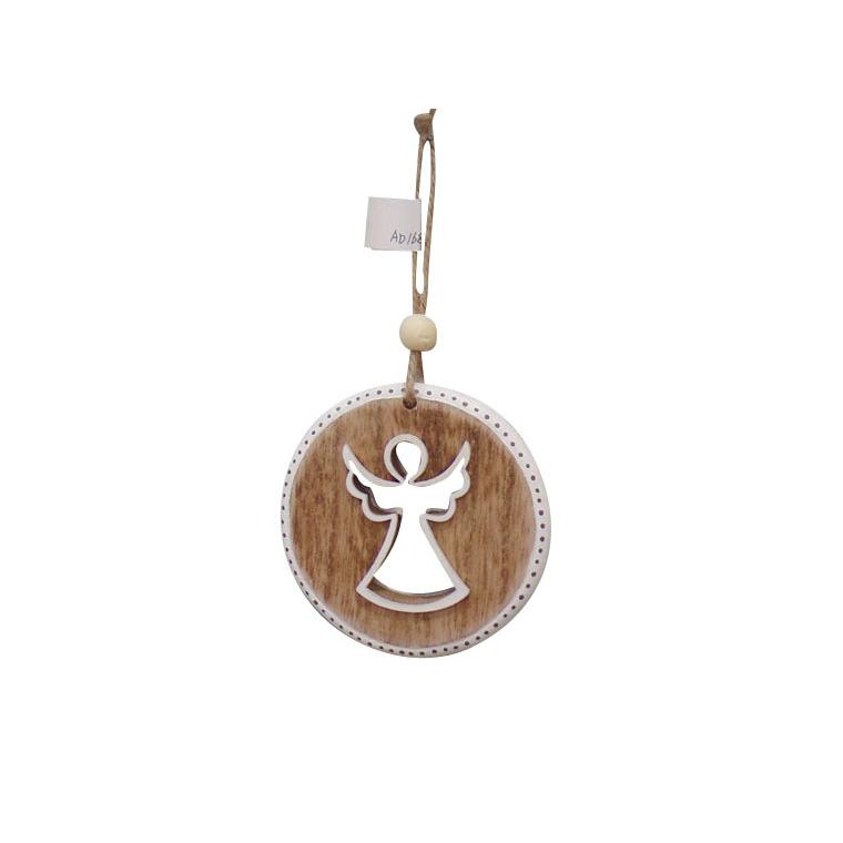 Disque décor ange en bois à suspendre 284310