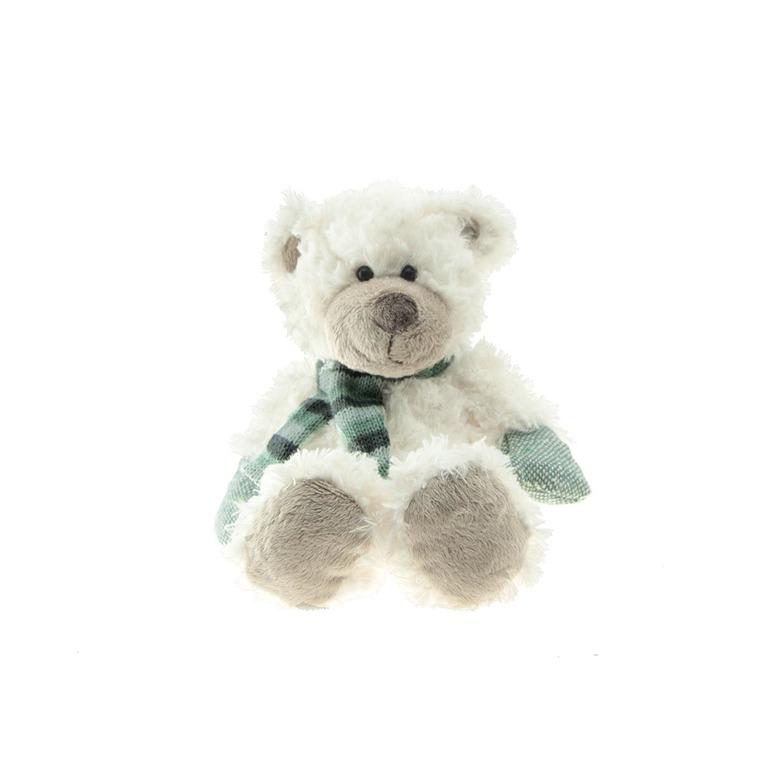Ours blanc, écharpe rayée bleue 18 cm 285652