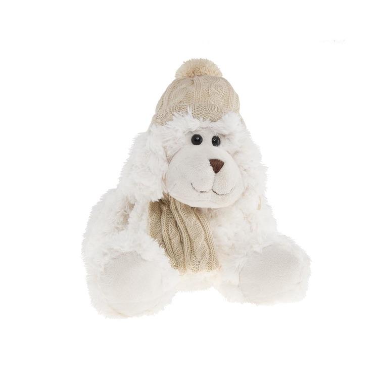 Chien blanc, écharpe et bonnet beige 30 cm 285653