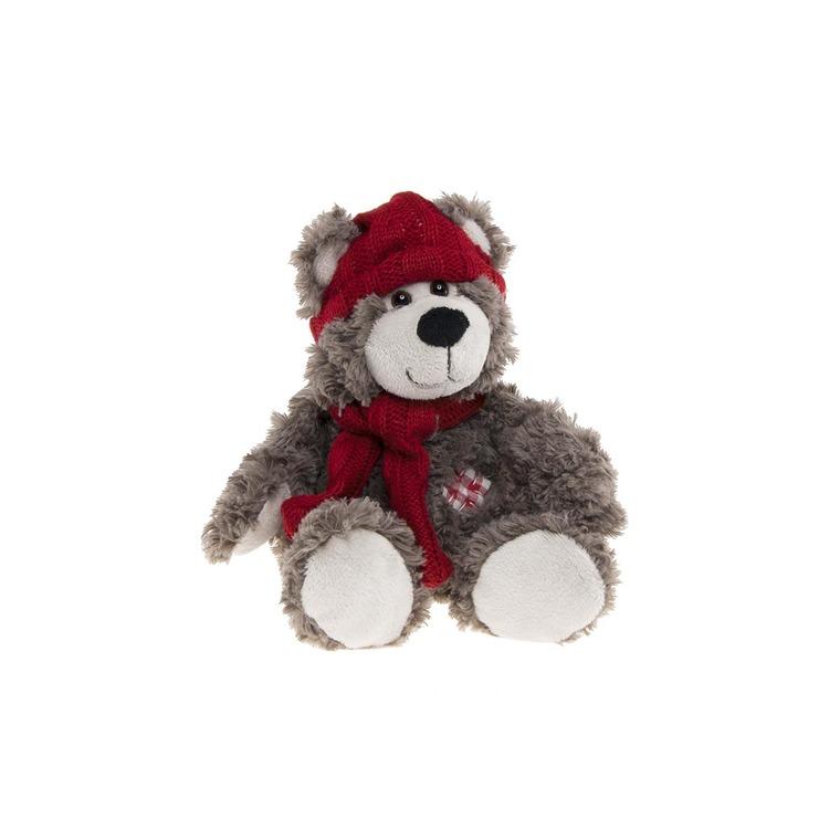 Ours Kalidou marron et rouge 22 cm 285654