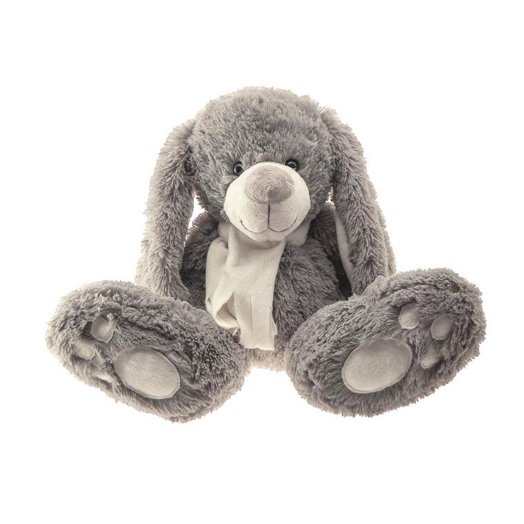 Lapin gris, écharpe blanche 30 cm 285656