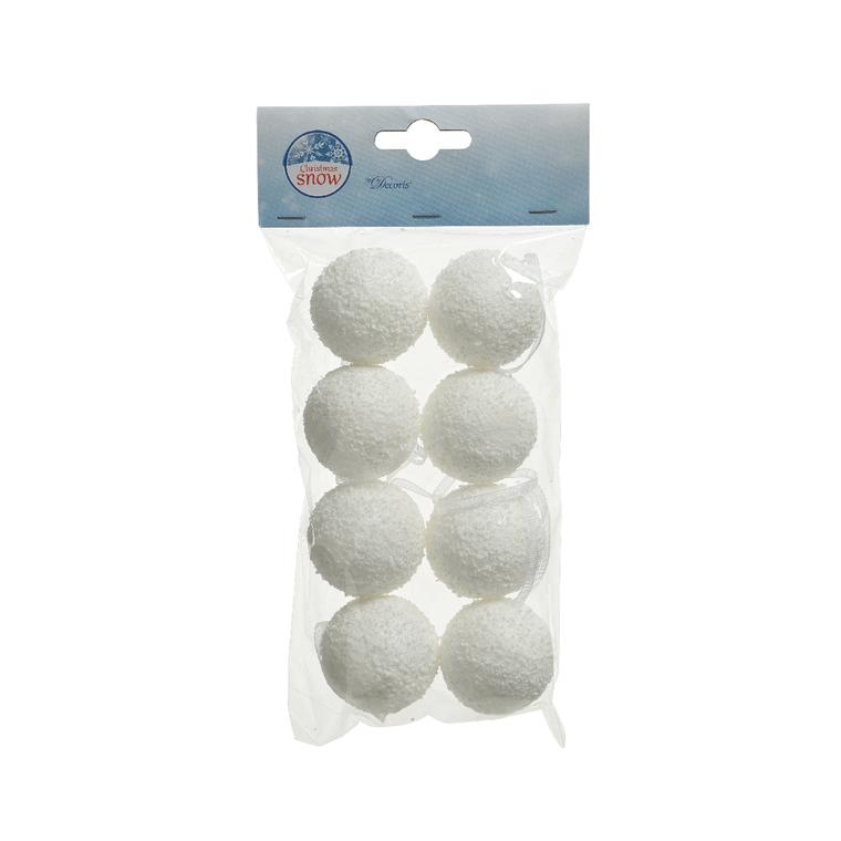 8 Boules de neige blanches à suspendre - Ø 4 cm