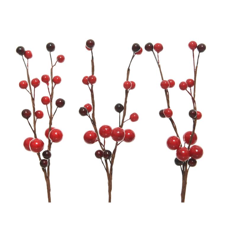 3 branches de baies rouges et noires - 7 et 8 cm