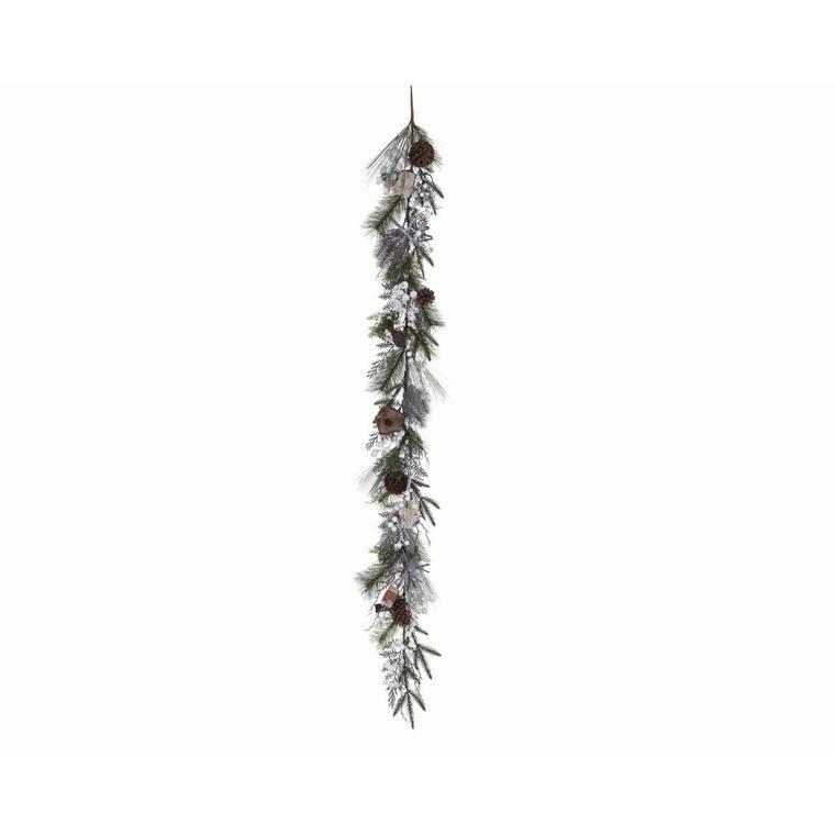 Guirlande décorative rouge-gorge nichoir L 180cm 286630