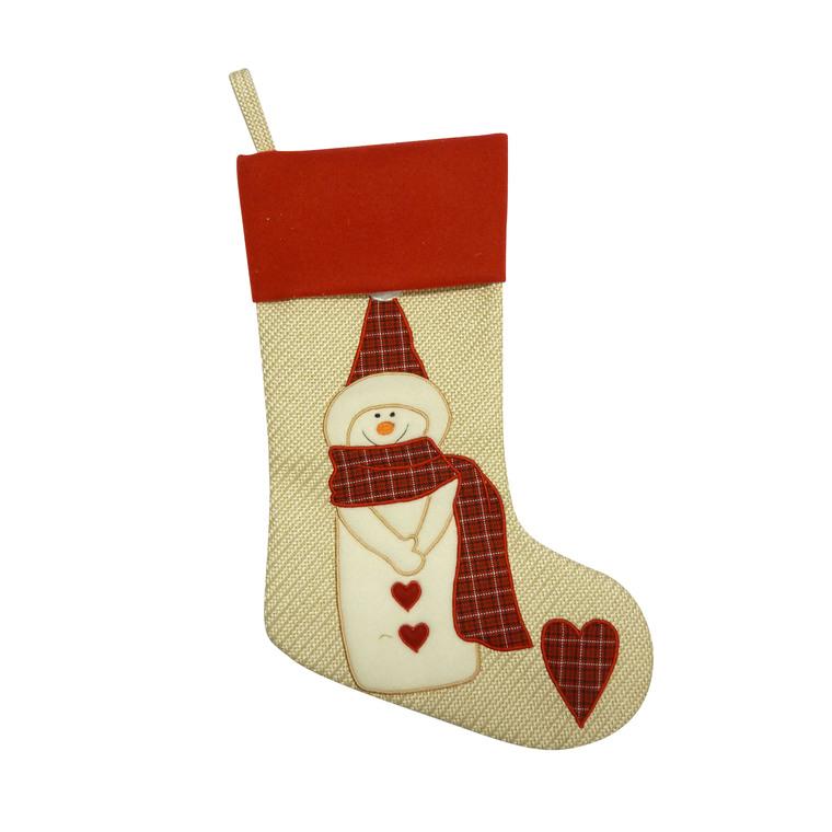 Chaussette de Noël jute beige bonhomme de neige 50 cm 286799