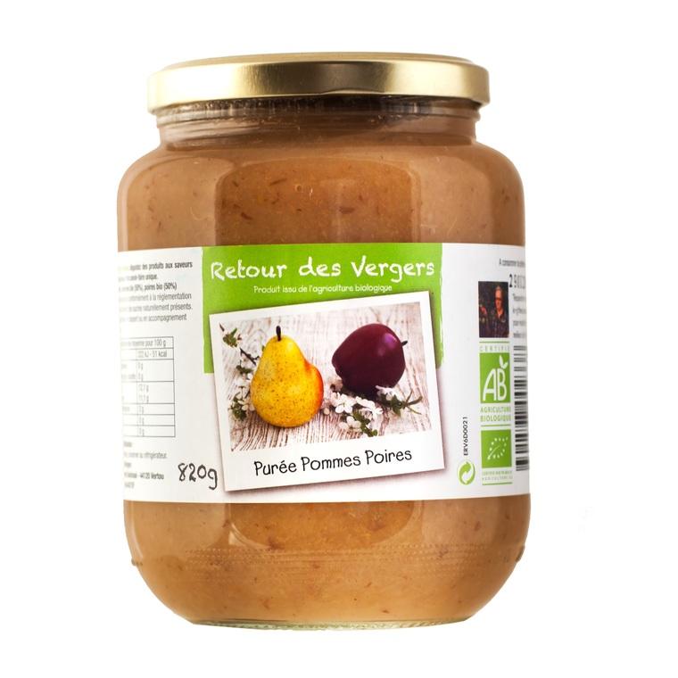 Purée de pommes et de poires bio en pot de 820 g 288382
