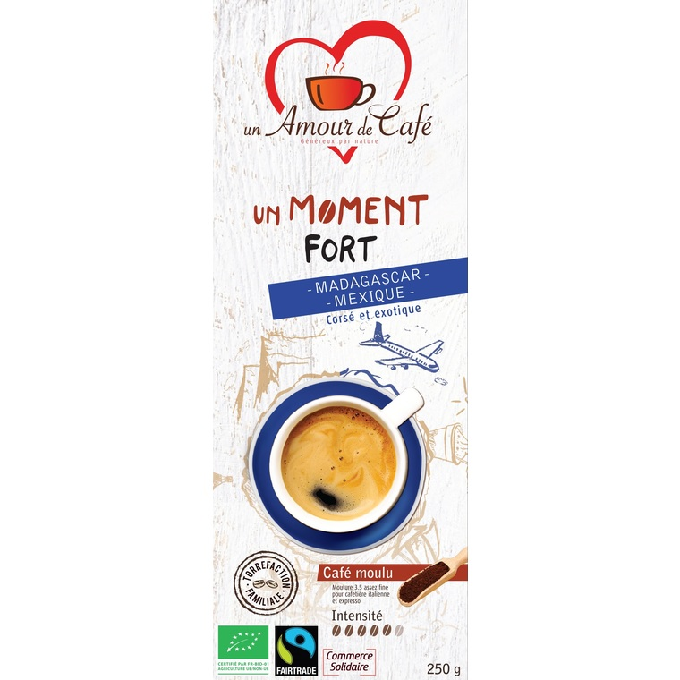 Café bio moment fort 50% Mexique 50% Madagascar 250 g 289153