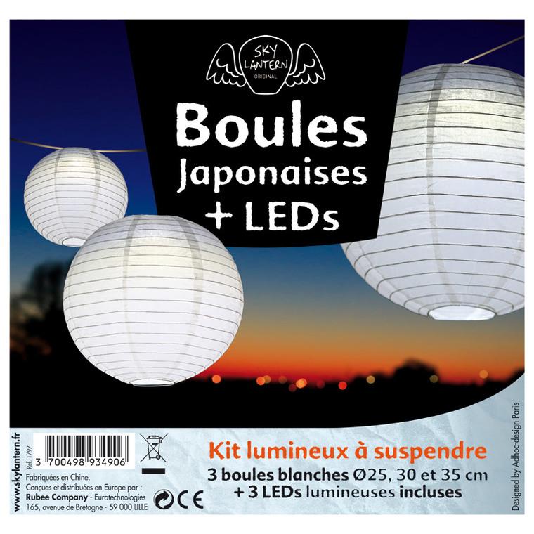 Lot de 3 boules japonaises en papier blanc 291009