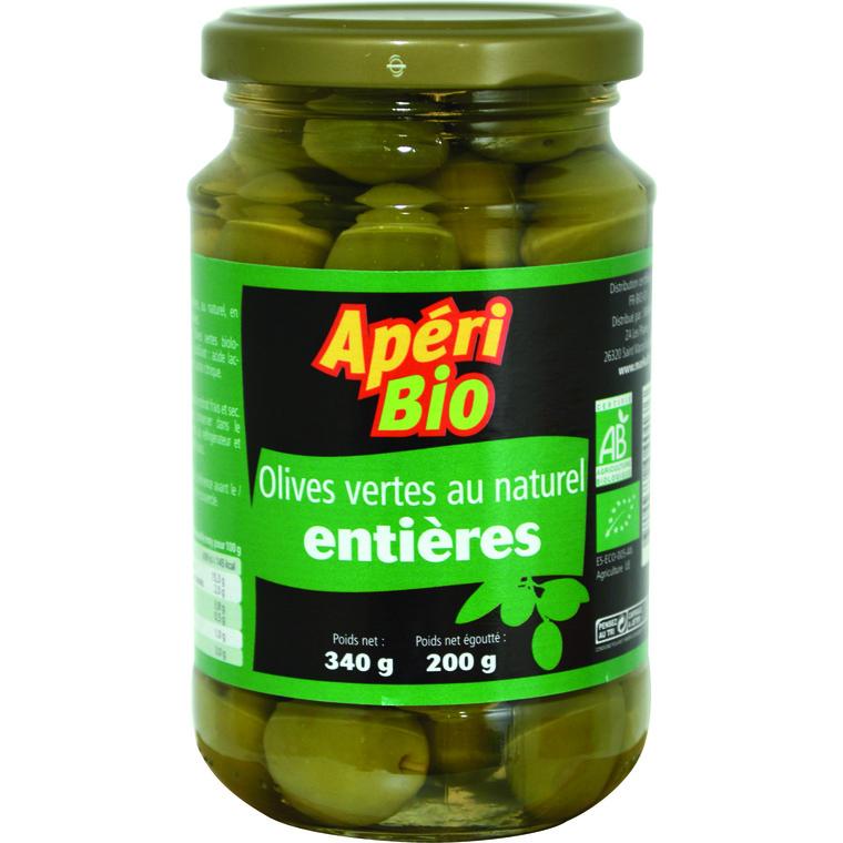 Olives vertes natures entières bio – 340 gr 291212