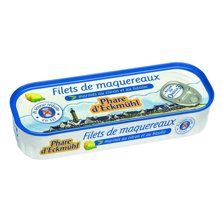 Filets de maquereau au citron sans sel ajouté bio en boite de 130 g 291990