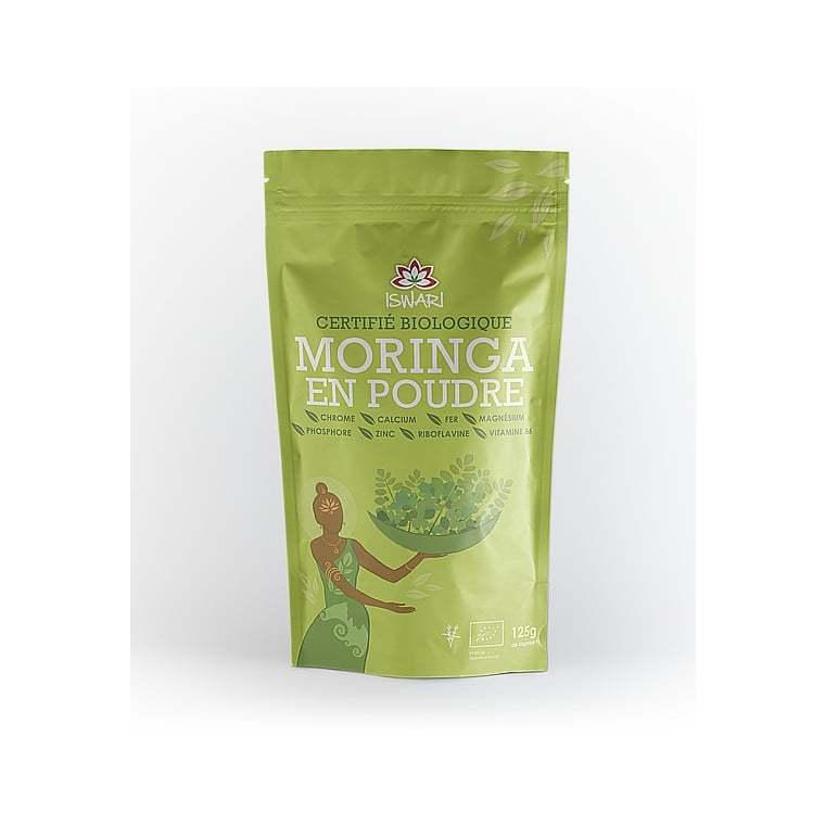 Moringa en poudre bio en paquet vert de 125 g 292240