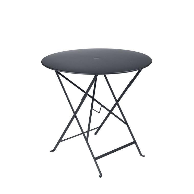 Table pliante ronde couleur Carbone 77 x h 74 cm : Tables de ...