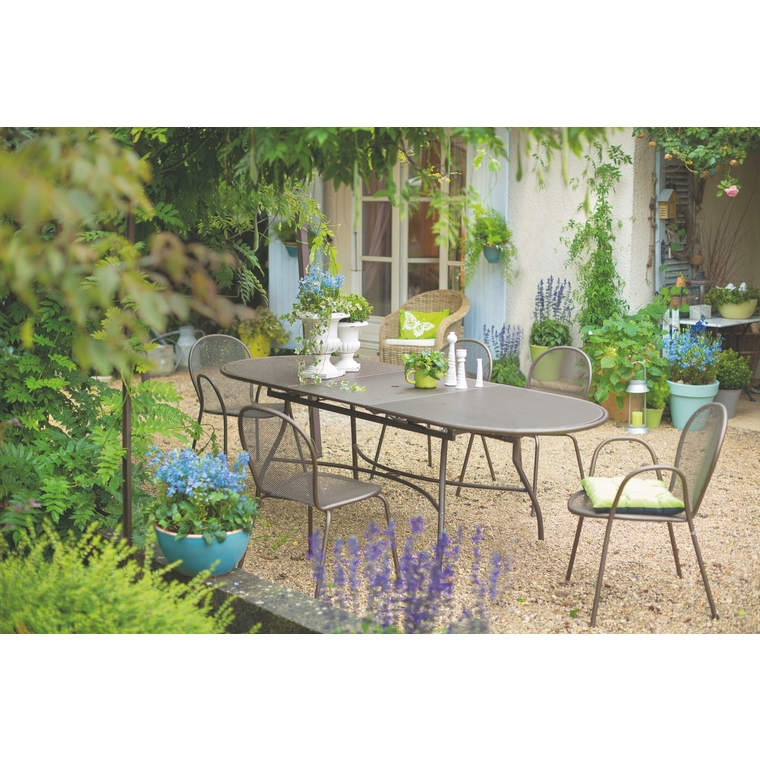 Table de jardin extensible Evo EMU Marron d\'Inde 180/240 x 90 x 75 ...