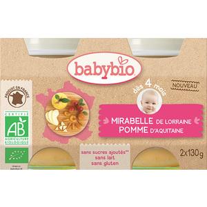 Petits pots mirabelle pomme Babybio 2 x 130 g 300879