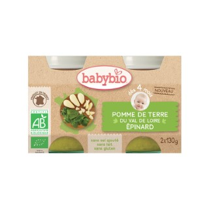 Petits pots pomme de terre et épinards Babybio 2 x 130 g 300881