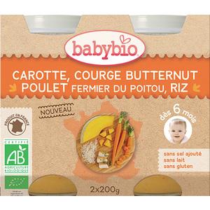 Pots de carotte courge butternut poulet et riz Babybio 2 x 200 g 300884