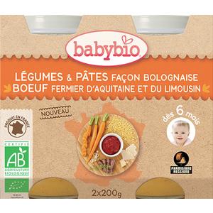 Pots de légumes et pâtes bolognaises et bœuf Babybio 2 x 200 g 300885