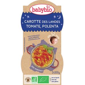 Pots de carotte tomate et polenta bonne nuit Babybio 2 x 200 g 300889