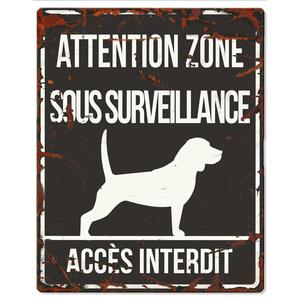 Plaque en métal noir « Attention au chien » Beagle 20x25 cm 325773