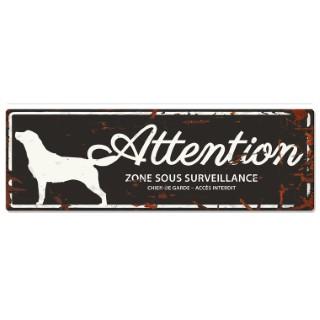 Panneau en métal noir « Attention au chien » Retriever 40x14 cm 325783