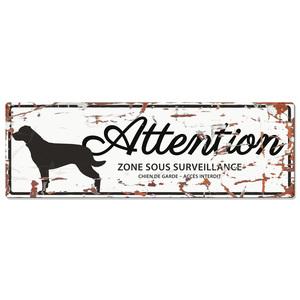 Panneau en métal blanc « Attention au chien » Rottweiler 40x14 cm 325800