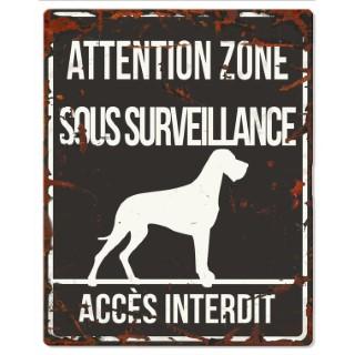 Plaque en métal noir « Attention au chien » Danois 20x25 cm 325805