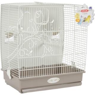 Cage à oiseaux arabesque adèle grise L. 40 x l. 31 x H. 44 cm 334534