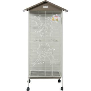 Cage à oiseaux arabesque axelle grise L. 78 x l. 48 x H. 156 cm 334543