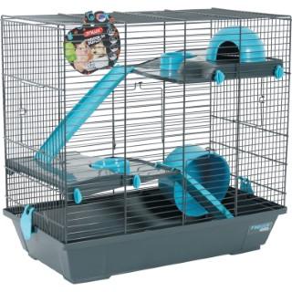 Cage pour rongeurs en duplex indoor bleu L. 51 x l. 29 x H. 47.5 cm 334555