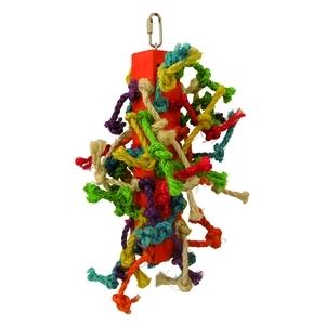 Tour de nœuds multicolore pour oiseaux 25 cm 33492