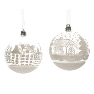 Boule de Noël en plastique transparent décor neige ø 8cm 335681