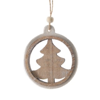 Boule de Noël en bois motif Sapin Ø 9cm 335781