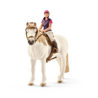 Figurine Cavalière amatrice avec cheval Série Horse club 15x8,5x18 cm 341099