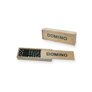 Jeu de domino noir dans boite en bois 14x5 cm 341432